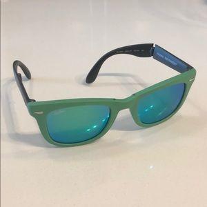 RAY BAN Folding Aqua Teal Blue Lenses Wayfarers